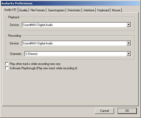 Audacity Audio I/O panel