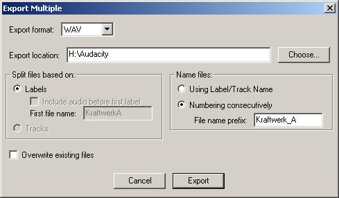 Audacity Export Multiple