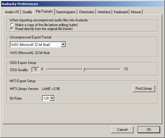 Audacity Preferences, File Formats