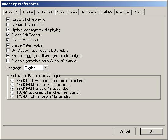 Change Audacity Interface