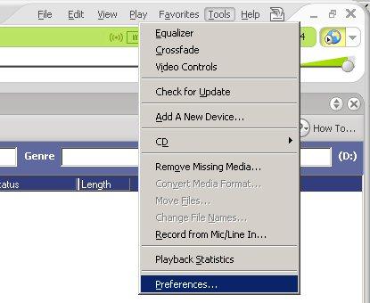 RealPlayer menu Tools