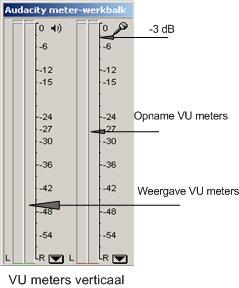 VU meters verticaal