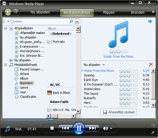 Afspeellijst opslaan in Windows Media Player 11