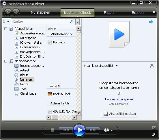Afspeellijst maken met Windows Media Player 11