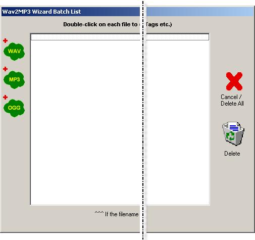 Wav2Mp3 Batch List window