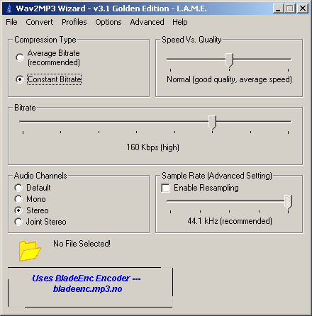 Wav2Mp3 Main Window