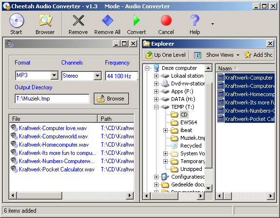 Cheetah Audio Converter 1.3 Main Window