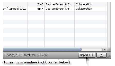 iTunes Main Window, Import CD